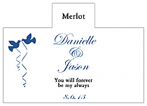 Personalized Doves Rectangle Wine Wedding Label 4.25x3