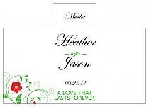 Personalized Flowers Rectangle Wine Wedding Label 4.25x3