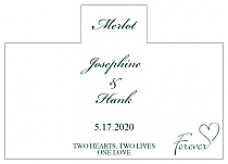 Personalized Forever Swirly Rectangle Wine Wedding Label 4.25x3