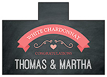 Personalized Hearts of Love Chalkboard Style Rectangle Wine Wedding Label 4.25x3