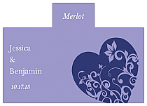 Personalized Hearts of Love Rectangle Wine Wedding Label 4.25x3