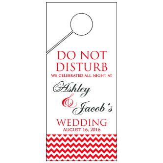 Personalized Red Bottom Chevron Wedding Door Hanger 4x9