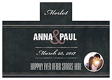 Personalized Romantic Photo Chalkboard Rectangle Wine Wedding Label 4.25x3
