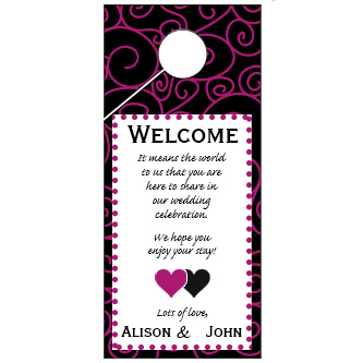 Swirl Pattern Wedding Door Hanger 4x9