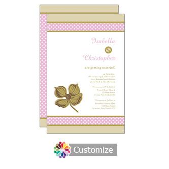 Champagne Polka 5 x 7.875 Flat Card Wedding Invitation