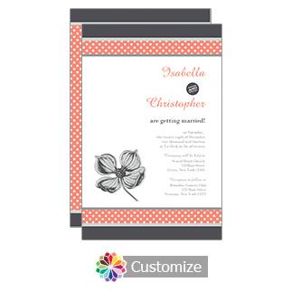 Coral Polka 5 x 7.875 Flat Card Wedding Invitation