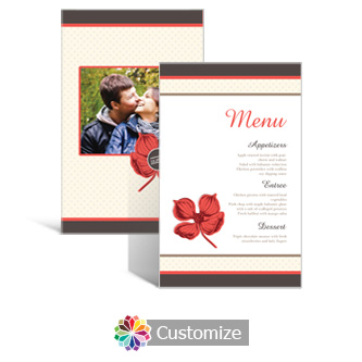 Polka 5 x 7.875 Rectangle Flat Wedding Menu
