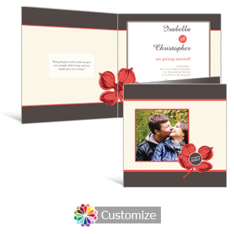 Polka 6 x 6 Square Folded Wedding Invitation