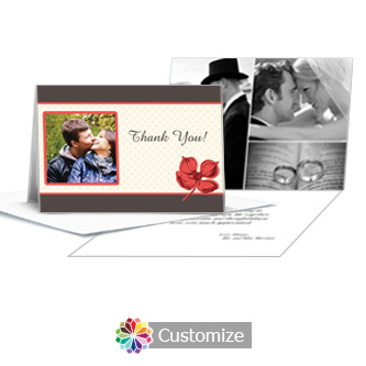 Polka Thank You Card With Photo and Custom Greeting