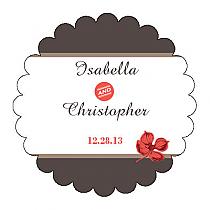 Polka Scalloped Circle Wedding Labels