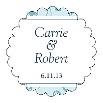 Provencale Scalloped Circle Wedding Labels