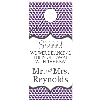 Purple Heart Pattern Wedding Door Hanger 4x9