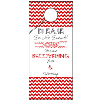 Red Chevron Wedding Door Hanger 4x9