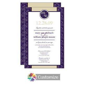 Amethyst Rococo 5 x 7.875 Flat Card Wedding Invitation