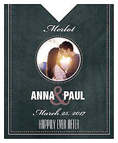 Romantic Photo Chalkboard Wine Wedding Label 3.25x4
