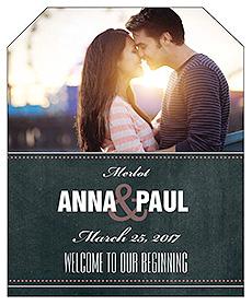 Romantic Photo Chalkboard Wine Wedding Label
