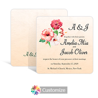 Rounded Floral Coralbell Lace Square Wedding Invitation 5.875 x 5.875