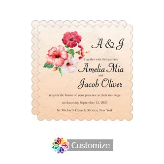 Scalloped Floral Coralbell Lace Square Wedding Invitation 5.875 x 5.875
