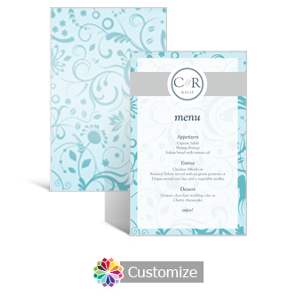 Serenity 5 x 7.875 Rectangle Flat Wedding Menu