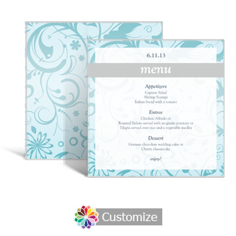 Serenity 5.875 x 5.875 Square Wedding Menu