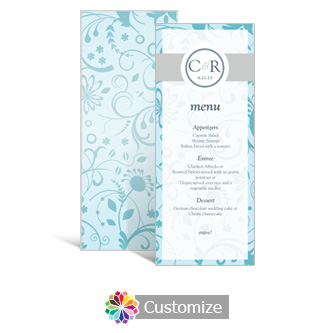 Serenity 3.625 x 8.875 Tea-Length Wedding Menu