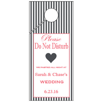 Silver Yellow Stripes Wedding Door Hanger 4x9