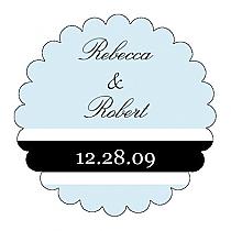 Simple Portrait Scalloped Circle Wedding Labels