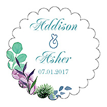 Spring Meadow Flowers Scalloped Circle Wedding Label