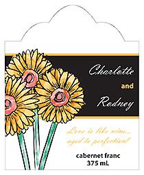 Summer Floral Trio Scalloped Vertical Big Rectangle Wedding Label