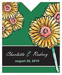 Summer Floral Trio Wine Wedding Label 3.25x4