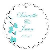 Summer Orchid Scalloped Circle Wedding Hang Tag