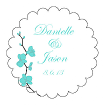 Summer Orchid Scalloped Circle Wedding Labels
