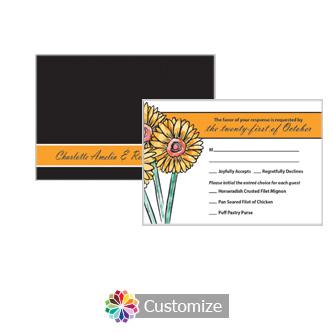 Floral Summer Floral Trio 5 x 3.5 RSVP Enclosure Card - Dinner Choice