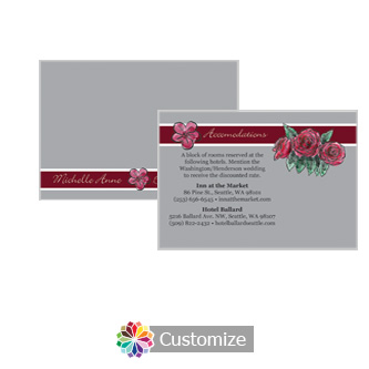 Floral Sweet Botanical Rose 5 x 3.5 Accommodations Enclosure Card
