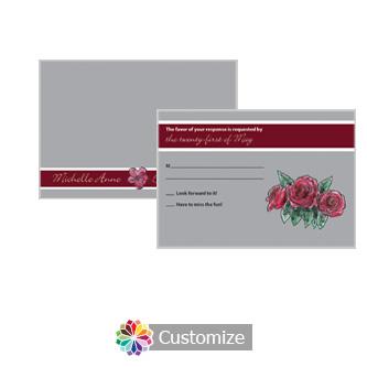 Floral Sweet Botanical Rose 5 x 3.5 RSVP Enclosure Card - Reception
