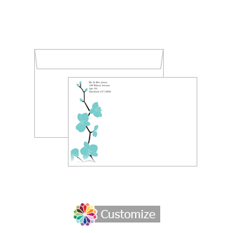 Custom Orchid Envelopes for Wedding Thank You Card