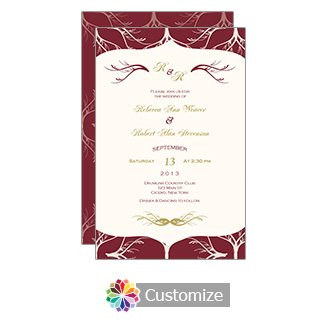 Cranberry Red Wave 5 x 7.875 Flat Card Wedding Invitation