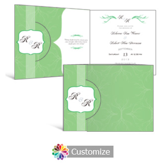 Wave 7.25 x 5.125 Folded Wedding Invitation