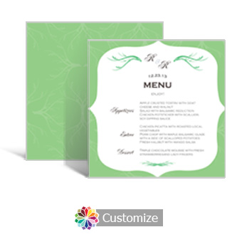 Wave 5.875 x 5.875 Square Wedding Menu