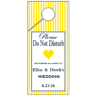 Yellow Stripes Wedding Door Hanger 4x9