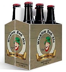 6 Pack Carrier Wicklow Red Ale includes plain 6 pack carrier and custom pre-cut labels