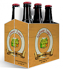 6 Pack Carrier Galway Lager includes plain 6 pack carrier and custom pre-cut labels