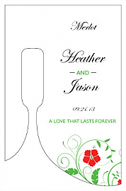Flowers Small Bottoms Up Rectangle Wine Wedding Label