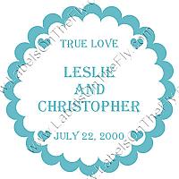 Mini Hearts Scalloped Circle Wedding Labels