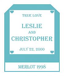 Mini Hearts Wine Wedding Label