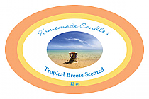 Tropical Breeze Candle Label Oval
