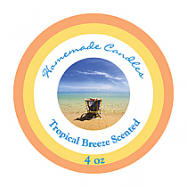 Tropical Breeze Small Circle Candle Labels