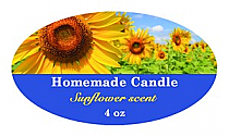 Photo with Text Candle Label Small Oval
