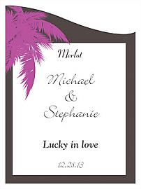 Customized Caribbean Beach Curved Rectangle Wine Wedding Label