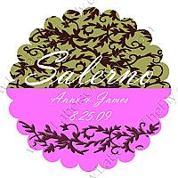 Rococo Scalloped Circle Wedding Labels